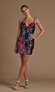 Image of sparkly short multi-color sequin homecoming dress. Style: NA-21-R702 Detail Image 2