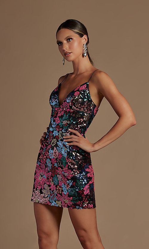 Image of sparkly short multi-color sequin homecoming dress. Style: NA-21-R702 Detail Image 1