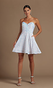 Image of white sequin short strapless homecoming dress. Style: NA-21-R705 Detail Image 2