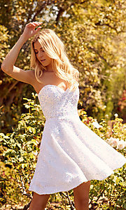 Image of white sequin short strapless homecoming dress. Style: NA-21-R705 Front Image