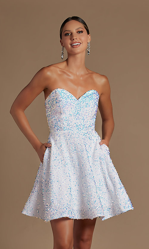 Image of white sequin short strapless homecoming dress. Style: NA-21-R705 Detail Image 1
