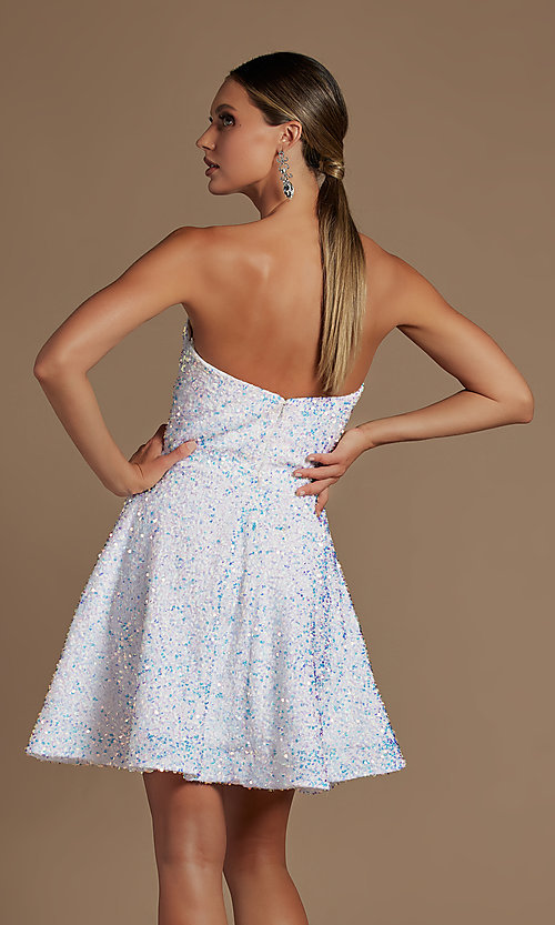 Image of white sequin short strapless homecoming dress. Style: NA-21-R705 Back Image