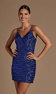 Image of fitted short v-neck sequined homecoming dress. Style: NA-21-R706 Detail Image 1