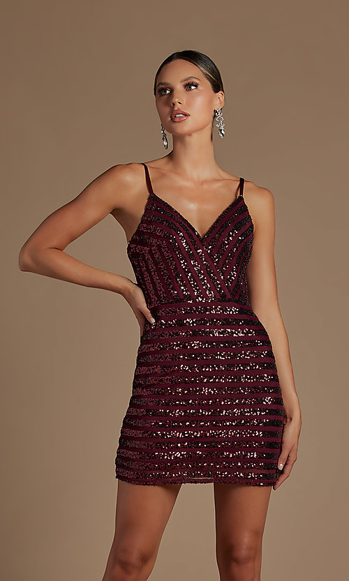Image of fitted short v-neck sequined homecoming dress. Style: NA-21-R706 Detail Image 3