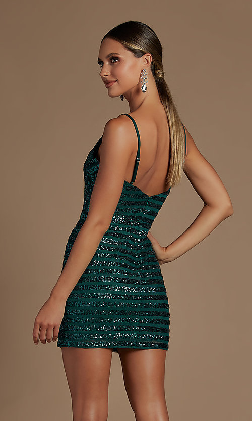 Image of fitted short v-neck sequined homecoming dress. Style: NA-21-R706 Back Image