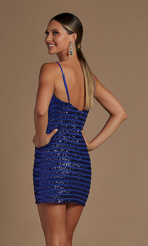 Image of fitted short v-neck sequined homecoming dress. Style: NA-21-R706 Detail Image 2