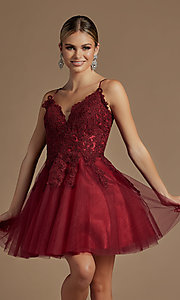 Image of corset-back short a-line baby doll hoco dress. Style: NA-21-R707 Detail Image 3