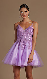 Image of corset-back short a-line baby doll hoco dress. Style: NA-21-R707 Detail Image 5