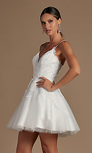 Image of corset-back short a-line baby doll hoco dress. Style: NA-21-R707 Front Image
