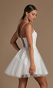 Image of corset-back short a-line baby doll hoco dress. Style: NA-21-R707 Back Image