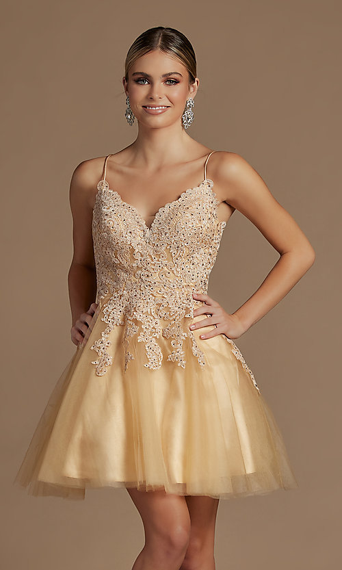 Image of corset-back short a-line baby doll hoco dress. Style: NA-21-R707 Detail Image 1