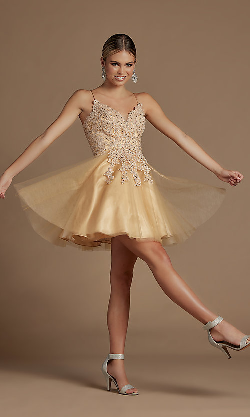 Image of corset-back short a-line baby doll hoco dress. Style: NA-21-R707 Detail Image 2