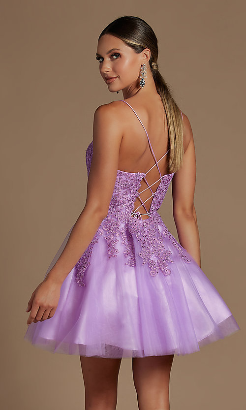 Image of corset-back short a-line baby doll hoco dress. Style: NA-21-R707 Detail Image 6
