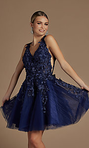 Image of navy blue floral-applique short homecoming dress. Style: NA-21-R708 Detail Image 1