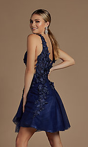 Image of navy blue floral-applique short homecoming dress. Style: NA-21-R708 Back Image