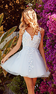 Image of short homecoming party dress with floral applique. Style: NA-21-R709 Front Image