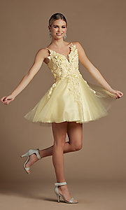 Image of short homecoming party dress with floral applique. Style: NA-21-R709 Detail Image 5