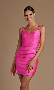 Image of short tight party dress with statement corset back. Style: NA-21-T710 Detail Image 1