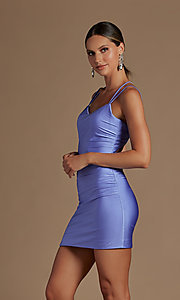 Image of short tight party dress with statement corset back. Style: NA-21-T710 Front Image