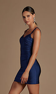Image of short tight party dress with statement corset back. Style: NA-21-T710 Detail Image 2