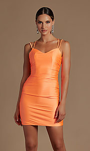 Image of short tight party dress with statement corset back. Style: NA-21-T710 Detail Image 3