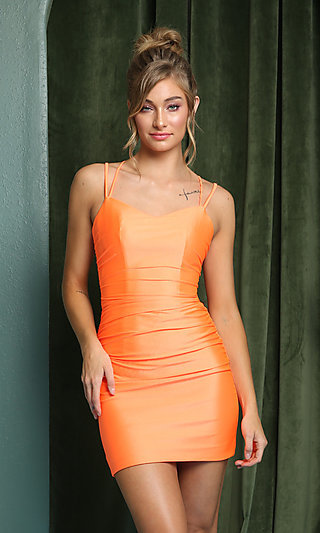 Short Tight Party Dress with Statement Corset Back