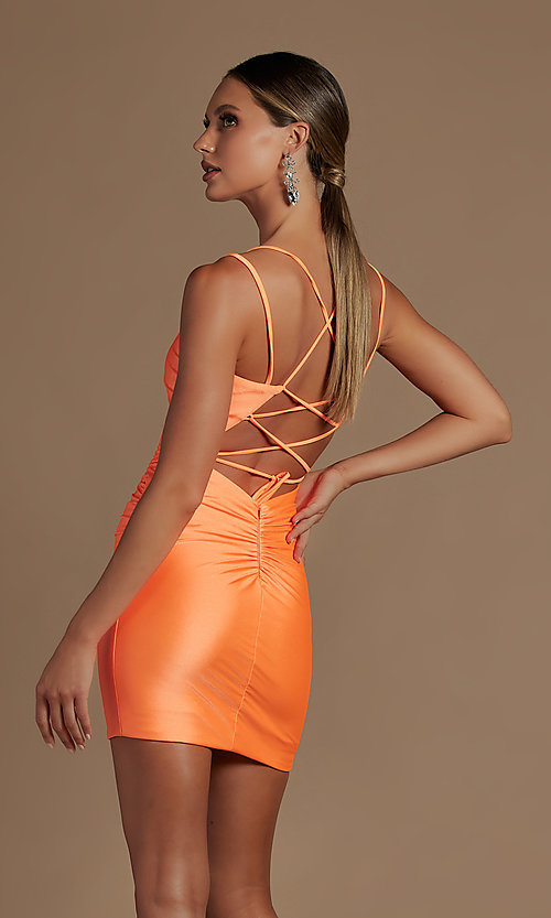 Image of short tight party dress with statement corset back. Style: NA-21-T710 Detail Image 4