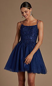 Image of embroidered a-line short corset-back hoco dress. Style: NA-21-T718 Detail Image 2