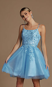 Image of embroidered a-line short corset-back hoco dress. Style: NA-21-T718 Front Image