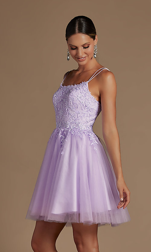 Image of embroidered a-line short corset-back hoco dress. Style: NA-21-T718 Detail Image 1