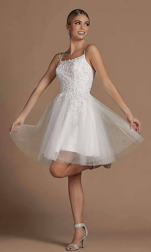 Image of embroidered a-line short corset-back hoco dress. Style: NA-21-T718 Detail Image 3