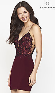 Image of sheer-bodice short Faviana homecoming dance dress. Style: FA-21-S10601 Front Image