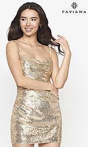 Image of cowl-neck short Faviana sequin cocktail dress. Style: FA-21-S10603 Front Image