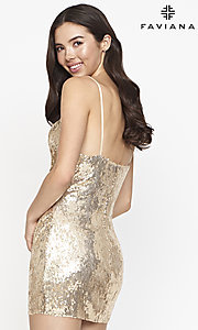 Image of cowl-neck short Faviana sequin cocktail dress. Style: FA-21-S10603 Back Image