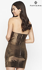 Image of strapless Faviana short copper homecoming dress. Style: FA-21-S10607 Back Image