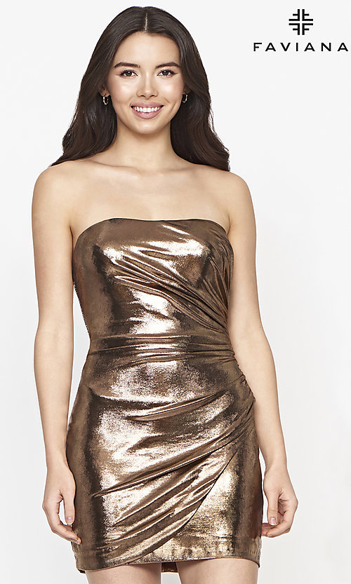 Image of strapless Faviana short copper homecoming dress. Style: FA-21-S10607 Front Image