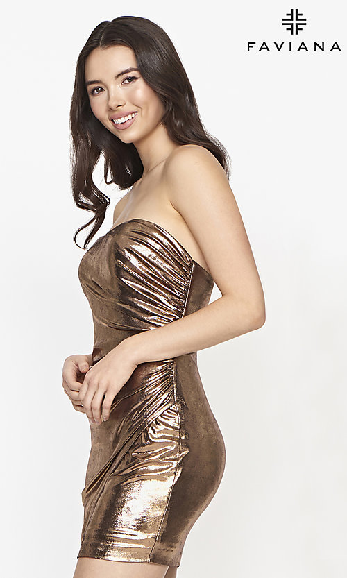 Image of strapless Faviana short copper homecoming dress. Style: FA-21-S10607 Detail Image 1