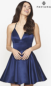 Image of satin short Faviana homecoming dress with corset. Style: FA-21-S10610 Front Image