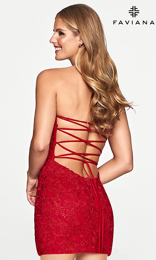 Image of lace-up Faviana short strapless homecoming dress. Style: FA-21-S10625 Back Image