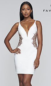 Image of open-back embroidered short Faviana hoco dress. Style: FA-21-S10371 Detail Image 3