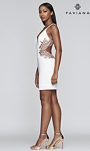 Image of open-back embroidered short Faviana hoco dress. Style: FA-21-S10371 Detail Image 1