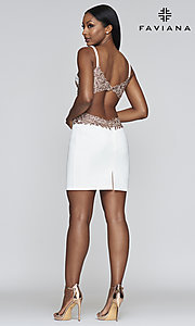 Image of open-back embroidered short Faviana hoco dress. Style: FA-21-S10371 Detail Image 2