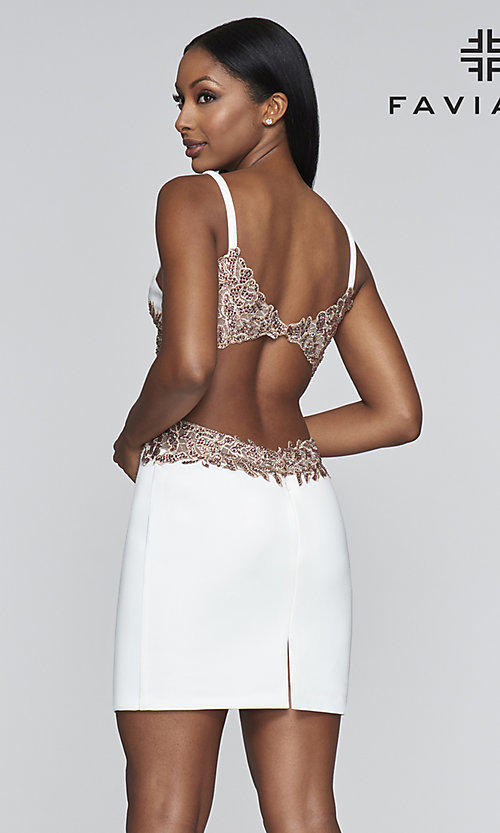 Image of open-back embroidered short Faviana hoco dress. Style: FA-21-S10371 Detail Image 4