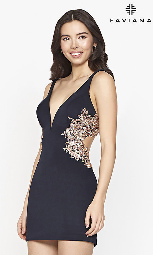 Image of open-back embroidered short Faviana hoco dress. Style: FA-21-S10371 Front Image