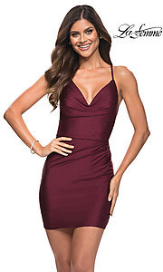 Image of La Femme short sexy homecoming dress with beading. Style: LF-21-30286 Front Image