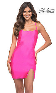Image of hot pink short backless La Femme homecoming dress. Style: LF-21-30304 Front Image