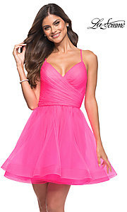 Image of La Femme neon pink short a-line homecoming dress. Style: LF-21-30345 Front Image