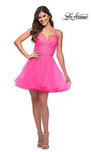 Image of La Femme neon pink short a-line homecoming dress. Style: LF-21-30345 Detail Image 1