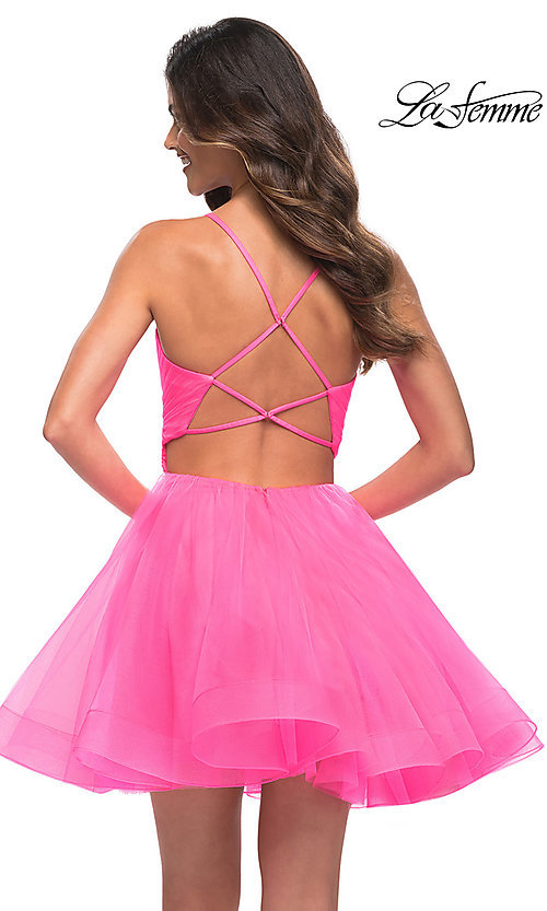 Image of La Femme neon pink short a-line homecoming dress. Style: LF-21-30345 Back Image