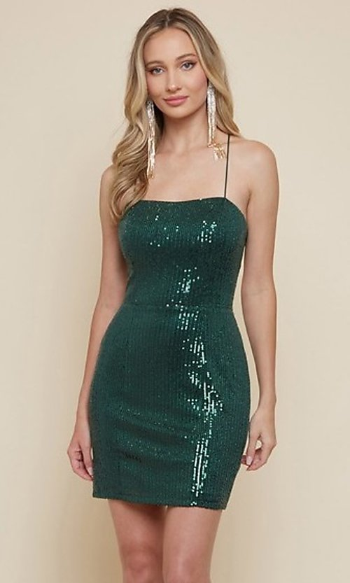 Image of sequin short homecoming dress with strappy back. Style: FG-MAN-21-MF2815 Front Image